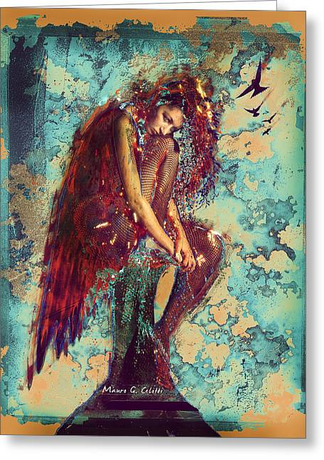 Angel Pyrography Greeting Cards - Fallen Angel Greeting Card by Mauro Celotti