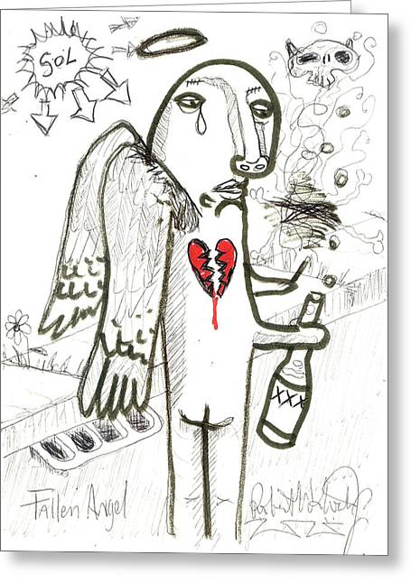 Angels Smoking Greeting Cards - Fallen Angel Greeting Card by Robert Wolverton Jr