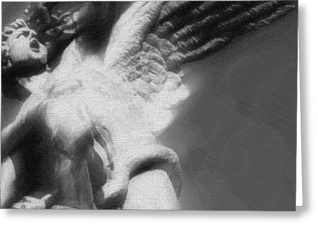 Pensive Mixed Media Greeting Cards - Fallen Angel Greeting Card by Tony Rubino