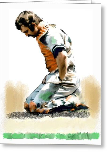 Fallen Captain Ix Thurman Munson Greeting Card by Iconic Images Art Gallery David Pucciarelli