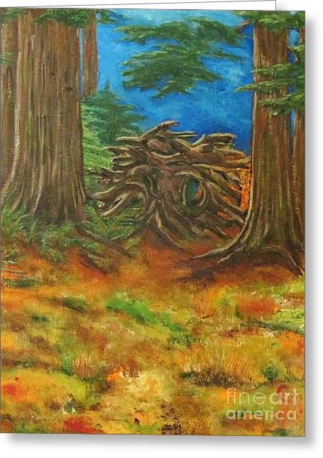 Tree Roots Paintings Greeting Cards - Fallen Giant Greeting Card by Chaline Ouellet