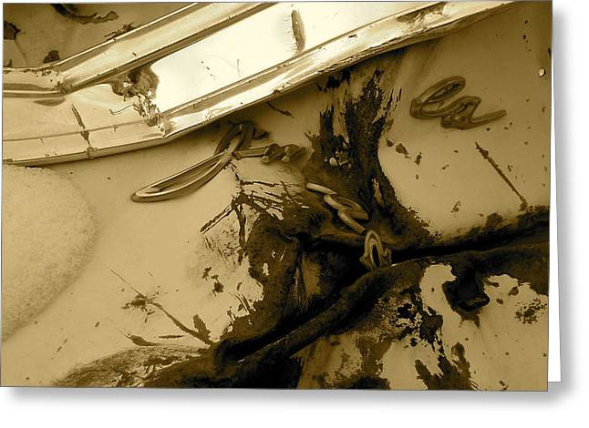 Rusted Cars Greeting Cards - Fallen Impala Greeting Card by Alpha Pup