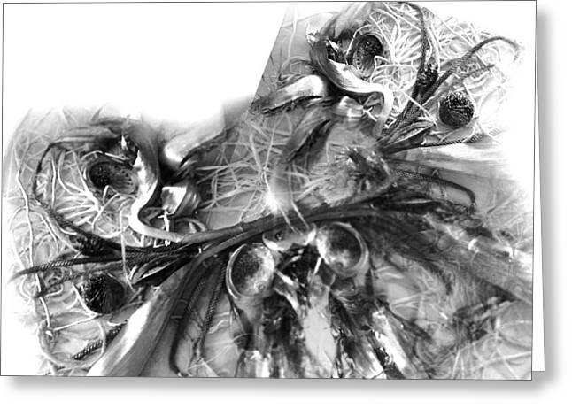 Black Reliefs Greeting Cards - Fallen Objects Collage Greeting Card by Marie Antuanelle