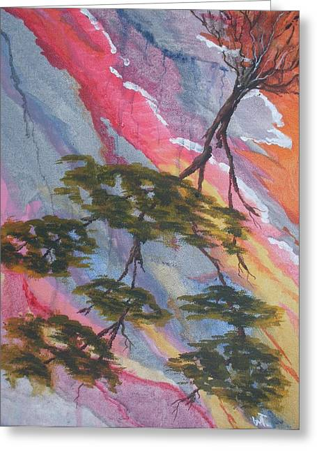 Tree Roots Paintings Greeting Cards - Fallen Tree Abstract Greeting Card by Warren Thompson