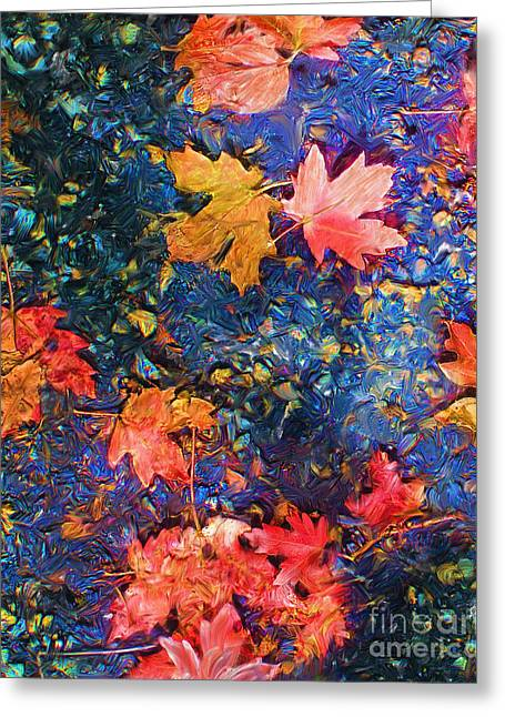 Marilyn Sholin Mixed Media Greeting Cards - Falling Blue Leave Greeting Card by Marilyn Sholin