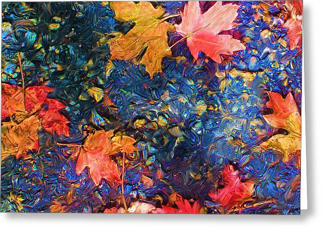 Falling Blue Leave Greeting Card by Marilyn Sholin