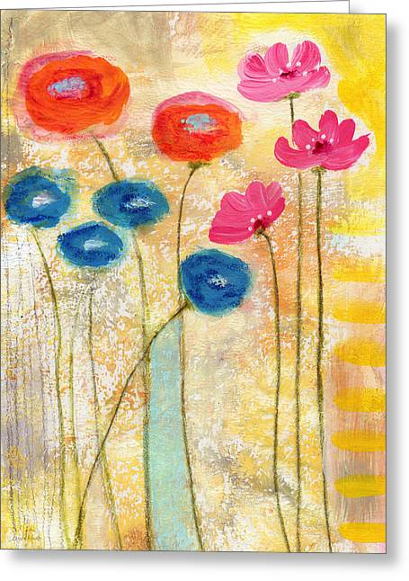 Falling For You- Floral Art By Linda Woods Greeting Card by Linda Woods