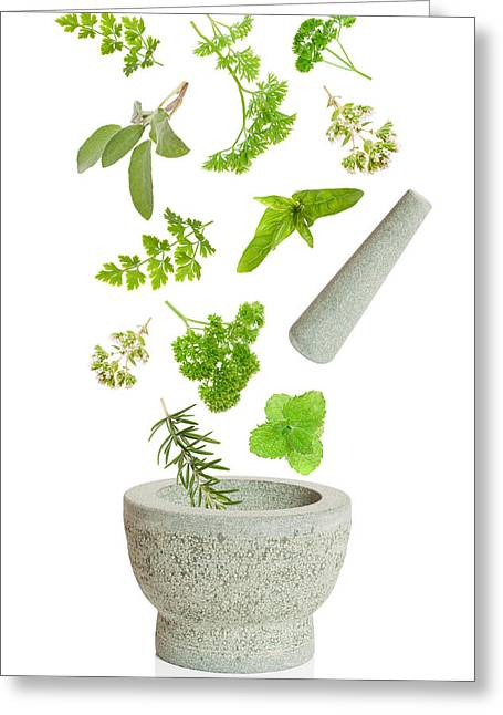 Culinary Photographs Greeting Cards - Falling Herbs Greeting Card by Amanda And Christopher Elwell