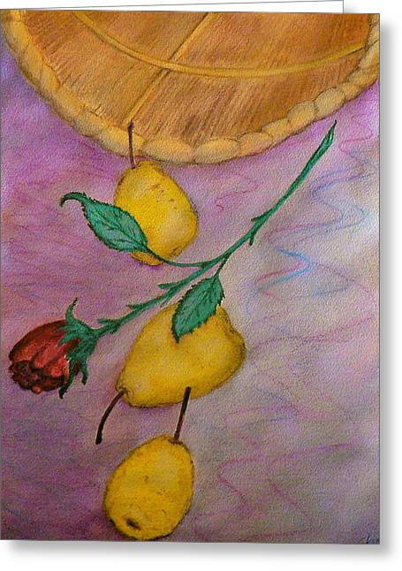 Stein Paintings Greeting Cards - Falling Pears Greeting Card by Carla Stein