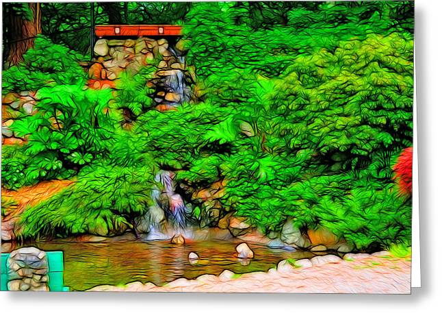 Falling Water Greeting Card by Tim Coleman