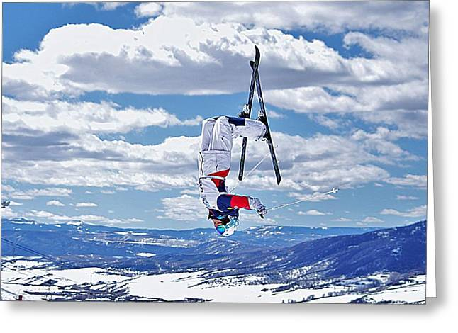 Freestyle Skiing Greeting Cards - Falling with Style Greeting Card by Matt Helm