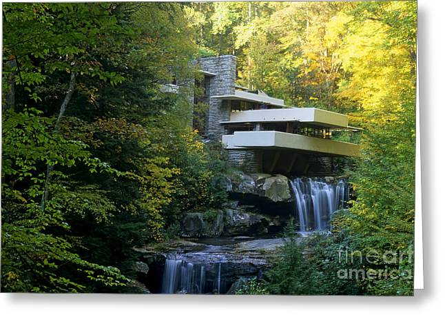 Architectural Design Greeting Cards - Fallingwater Greeting Card by Bill Bachmann