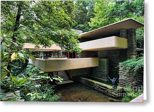 Chuck Kuhn Greeting Cards - Fallingwater FLW Greeting Card by Chuck Kuhn