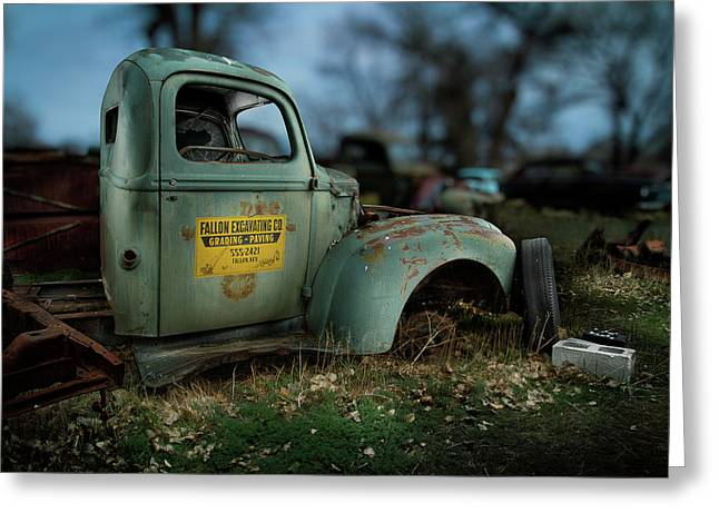 Rusted Cars Greeting Cards - Fallon Excavating Co. Greeting Card by Yo Pedro