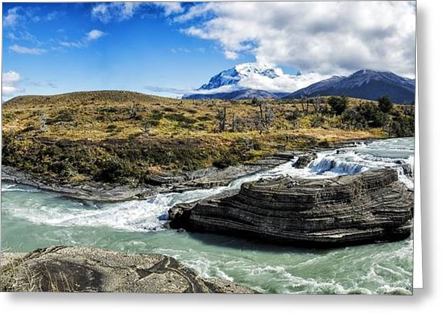 Colorful Cloud Formations Greeting Cards - Falls In Patagonia Chile Greeting Card by Timothy Hacker