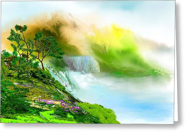 Abstract Waterfall Greeting Cards - Falls Overlook Greeting Card by David Lane