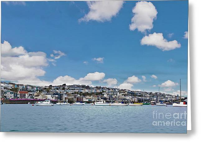 Falmouth From The Water Textured Greeting Card by Terri Waters
