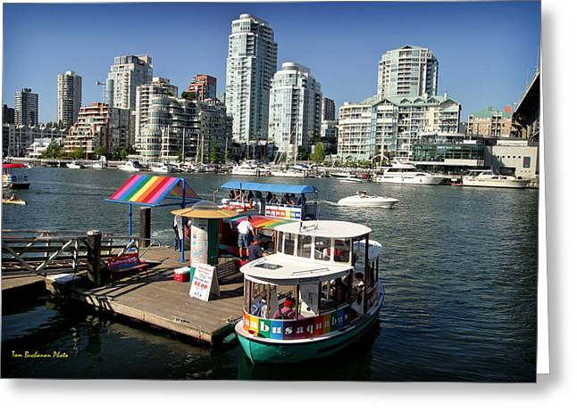Burrard Inlet Greeting Cards - False Creek in Vancouver Greeting Card by Tom Buchanan