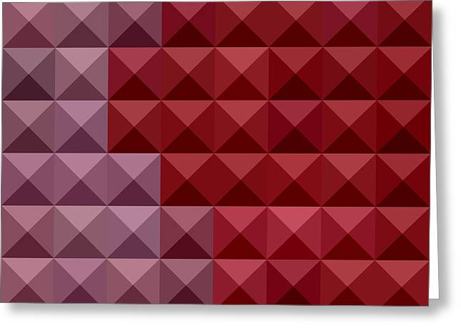 Red Abstracts Greeting Cards - Falu Red Abstract Low Polygon Background Greeting Card by Aloysius Patrimonio