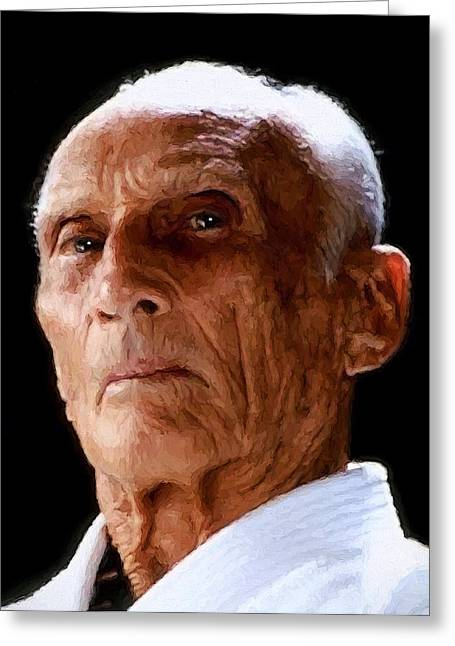Famed Brazilian Jui-jitsu Grandmaster Helio Gracie Greeting Card by Daniel Hagerman