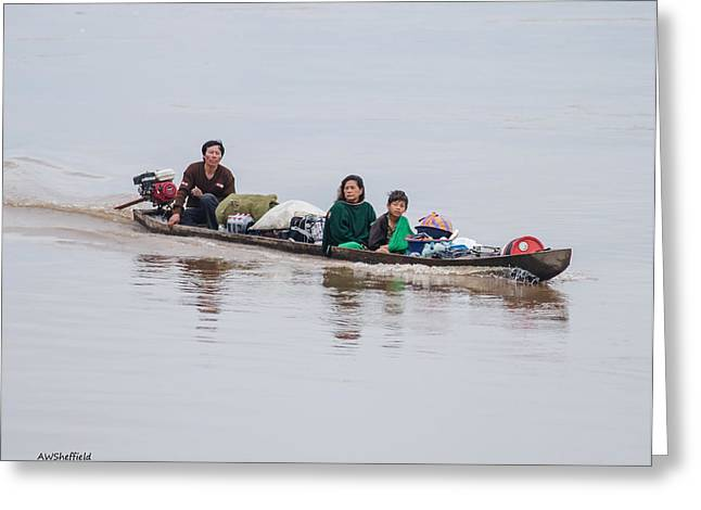 Dug Out Greeting Cards - Family Boat on the Amazon Greeting Card by Allen Sheffield