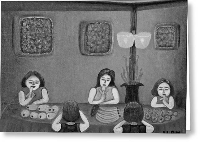 Table Cloth Mixed Media Greeting Cards - Family Dinner BW Greeting Card by Lorna Maza