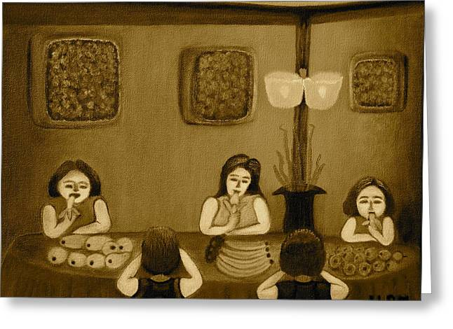 Cloth Greeting Cards - Family Dinner Sepia Greeting Card by Lorna Maza