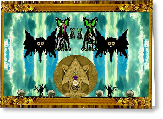 Family Dracula With Friends Greeting Card by Pepita Selles
