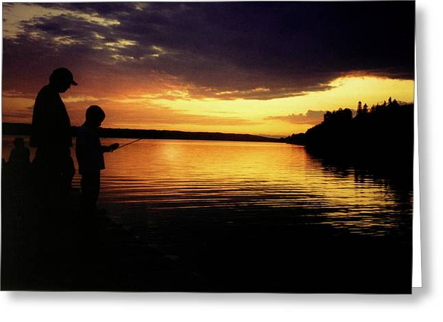 Glenmore Reservoir Greeting Cards - Family Fishing Sunset Greeting Card by Al Bourassa