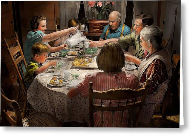 Family - Home For The Holidays 1942 Greeting Card by Mike Savad