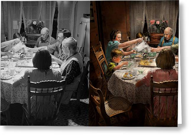 Fashion Setting Greeting Cards - Family - Home for the holidays 1942 Side by Side Greeting Card by Mike Savad