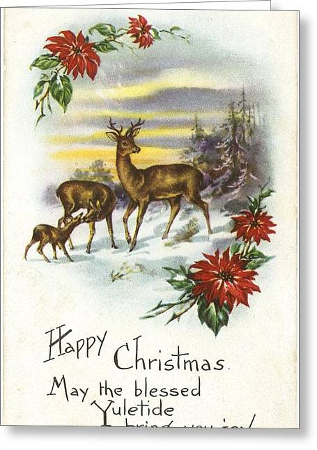 Christmas Tree In Nature Greeting Cards - Family Of Deer With Partial Poinsettia Greeting Card by Gillham Studios