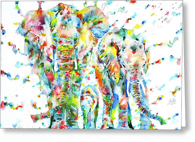 Puppies Paintings Greeting Cards - FAMILY of ELEPHANTS Greeting Card by Fabrizio Cassetta