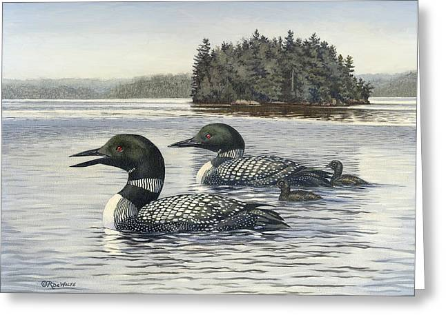 Water Bird Greeting Cards - Family Outing Greeting Card by Richard De Wolfe