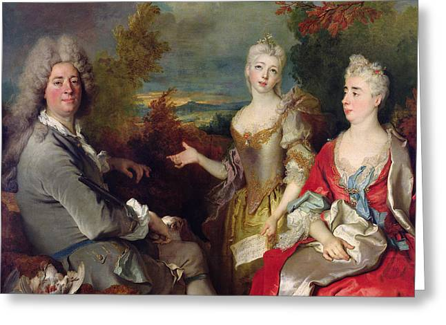 Family Portrait Greeting Cards - Family Portrait Greeting Card by Nicolas de Largilliere