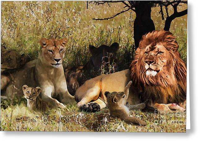 Lioness Greeting Cards - Family Pride Greeting Card by Joseph Juvenal