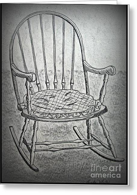 Rocks Drawings Greeting Cards - Family Rocker Greeting Card by Linda Eversole