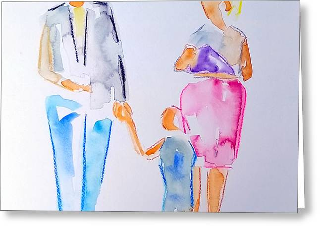 Family Walks Paintings Greeting Cards - Family Stroll Greeting Card by Laurel Schoolar