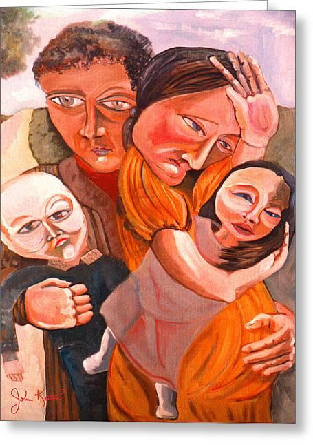 Family Struggle Greeting Card by John Keaton
