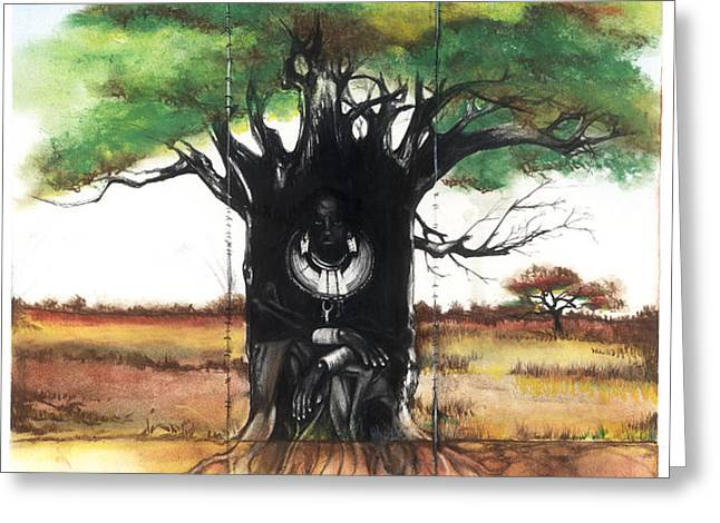 Family Tree Greeting Card by Anthony Burks Sr