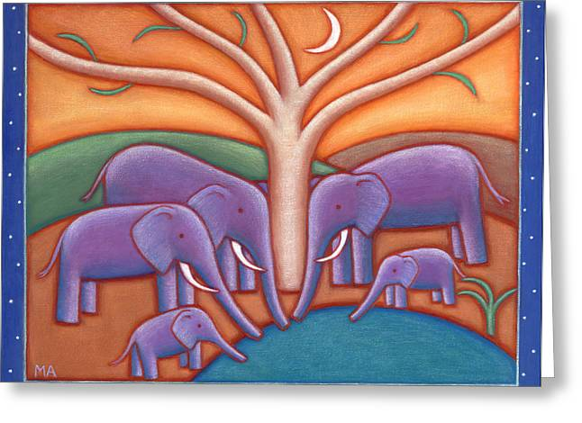 Whimsical Animals Greeting Cards - Family Tree Greeting Card by Mary Anne Nagy