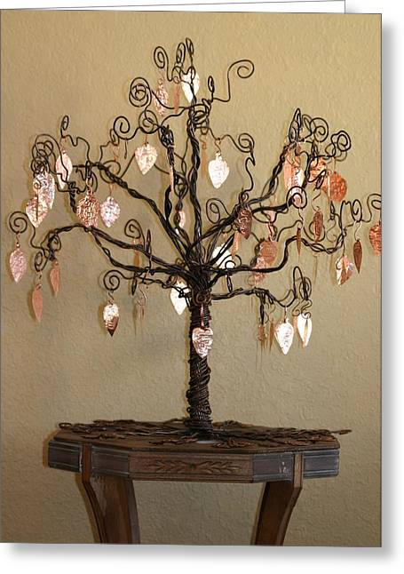 Family Tree Sculptures Greeting Cards - Family Tree Greeting Card by Shawna Dockery