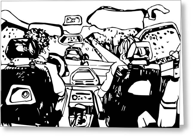 Steering Drawings Greeting Cards - Family Trip On A Rainy Day Greeting Card by Dragana  Gajic