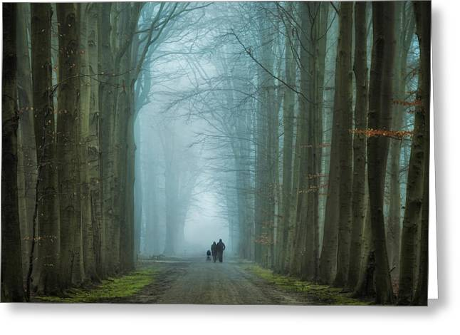 Family Walk Greeting Card by Martin Podt