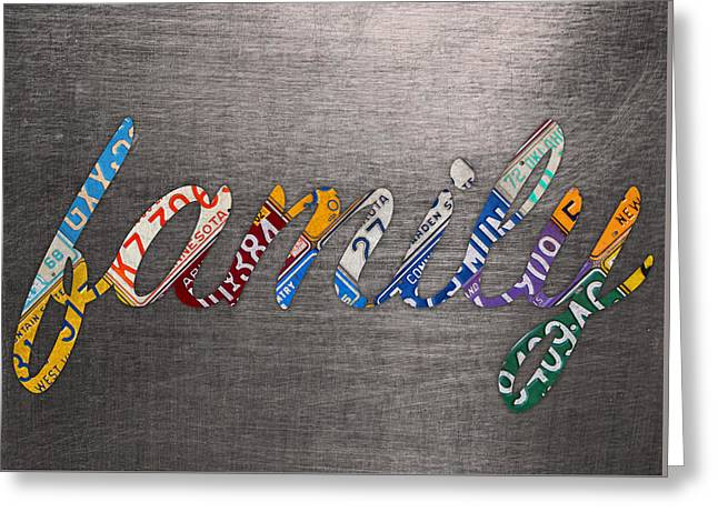 Family Wording Sign License Plate Art Letters On Aluminum Recycled Sheet Greeting Card by Design Turnpike