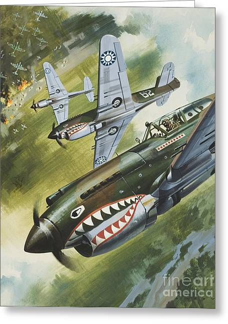 Aeroplane Greeting Cards - Famous Aircraft and their Pilots Greeting Card by Wilf Hardy