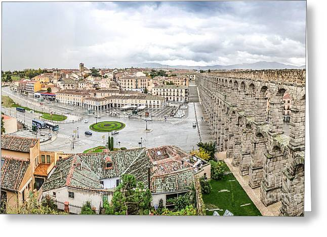 Castilla Greeting Cards - Famous ancient aqueduct in Segovia, Castilla y Leon, Spain Greeting Card by JR Photography