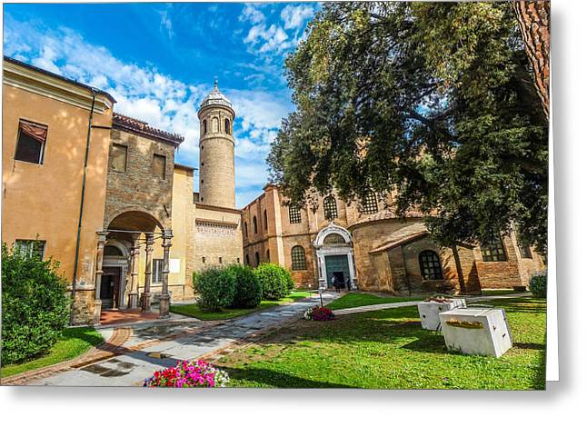 Historic Architecture Greeting Cards - Famous Basilica di San Vitale in Ravenna, Italy Greeting Card by JR Photography