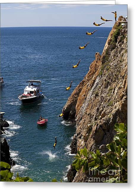 Hurl Greeting Cards - Famous Cliff Diver of Acapulco Mexico Greeting Card by Anthony Totah