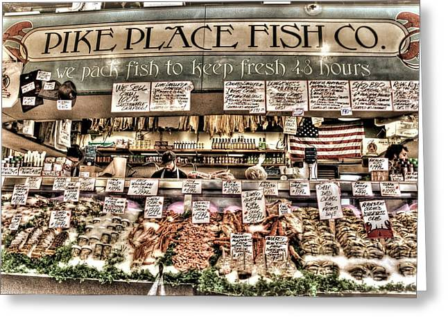 Fish Market Greeting Cards - Famous Fish at Pike Place Market Greeting Card by Spencer McDonald
